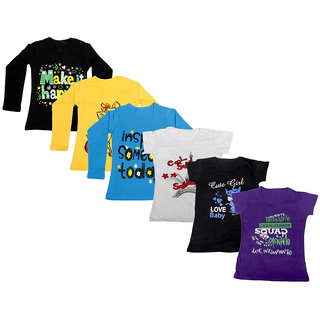Indistar Girls Cotton Full Sleeves Printed T-Shirt (Pack of 4)_Black::Blue::Yellow::Grey::Black::Purple_Size: 6-7 Year