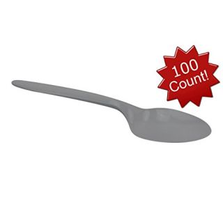 B-Kind Party Pack 100 Count Thick Strong and Durable Medium Weight Disposable White Spoons for Camping, Picnics, Parties