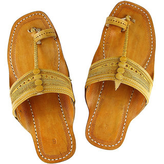 Light yellow attractive kolhapuri chappal for men