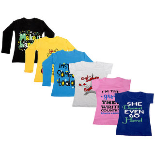 Indistar Girls Cotton Full Sleeves Printed T-Shirt (Pack of 4)_Black::Blue::Yellow::Grey::Pink::Blue_Size: 6-7 Year