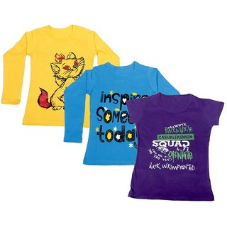 Indistar Girls 2 Cotton Full Sleeves and 1 Half Sleeves Printed T-Shirt (Pack of 3)_Yellow::Blue::Purple_Size: 6-7 Year