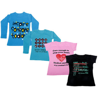 IndiWeaves Girls 2 Cotton Full Sleeves and 2 Half Sleeves Printed T-Shirt (Pack of 4)_Blue::Blue::Pink::Black_Size: 6-7 Year
