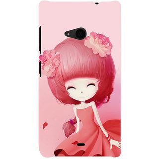 ifasho Cute Girl Back Case Cover for Nokia Lumia 535