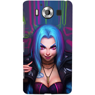 ifasho Blue hair Girl smiling Back Case Cover for Nokia Lumia 950