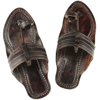 Triangular belt, dark brown kolhapuri chappal for men
