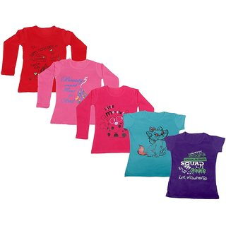 Indistar Girls 3 Cotton Full Sleeves and 2 Half Sleeves Printed T-Shirt (Pack of 5)_Red::Red::Pink::Blue::Purple_Size: 6-7 Year