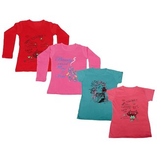 Indistar Girls 2 Cotton Full Sleeves and 2 Half Sleeves Printed T-Shirt (Pack of 4)_Red::Pink::Blue::Pink_Size: 6-7 Year
