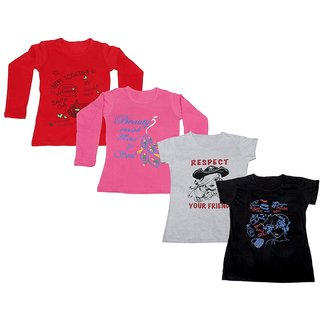 Indistar Girls 2 Cotton Full Sleeves and 2 Half Sleeves Printed T-Shirt (Pack of 4)_Red::Pink::White::Black_Size: 6-7 Year
