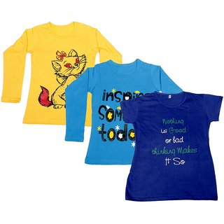 Indistar Girls 2 Cotton Full Sleeves and 1 Half Sleeves Printed T-Shirt (Pack of 3)_Yellow::Blue::Blue_Size: 6-7 Year