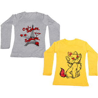IndiWeaves Girls Cotton Full Sleeves Printed T-Shirt (Pack of 2)_Yellow::Grey_Size: 6-7 Year