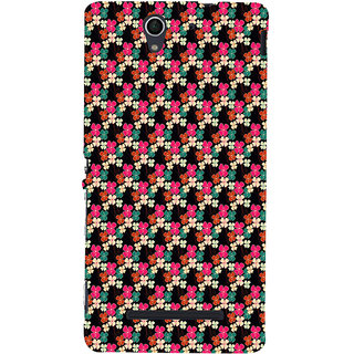 ifasho Animated Pattern design colorful flower in black background Back Case Cover for Sony Xperia C3 Dual