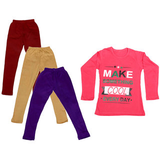 IndiWeaves Girls Cotton Full Sleeves Printed T-Shirt and Cotton Legging (Pack of 4)_Maroon::Beige::Purple::Red_Size: 6-7 Year