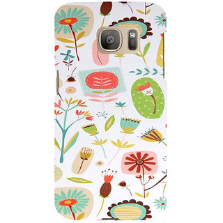 ifasho Animated Pattern colrful flower with leaves Back Case Cover for Samsung Galaxy S7 Edge