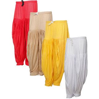 Indistar Women's Premium Cotton 4 Full Patiala Salwar (Pack of 4)