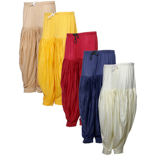 IndiWeaves Women's Premium Cotton 5 Full Patiala Salwar (Pack of 5)