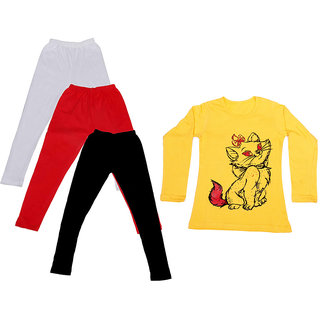 IndiWeaves Girls Cotton Full Sleeves Printed T-Shirt and Cotton Legging (Pack of 4)_White::Red::Black::Yellow_Size: 6-7 Year