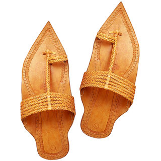 Light Yellow Maharaja Style Six Braided Kolhapuri Chappal for Men