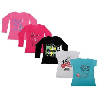 Indistar Girls 3 Cotton Full Sleeves and 2 Half Sleeves Printed T-Shirt (Pack of 5)_Pink::Black::Red::White::Blue_Size: 6-7 Year