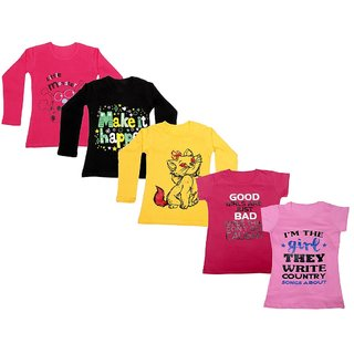 Indistar Girls 3 Cotton Full Sleeves and 2 Half Sleeves Printed T-Shirt (Pack of 5)_Red::Yellow::Black::Pink::Pink_Size: 6-7 Year