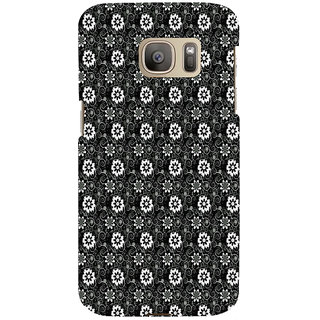 ifasho Animated Pattern design black and white flower in royal style Back Case Cover for Samsung Galaxy S7 Edge