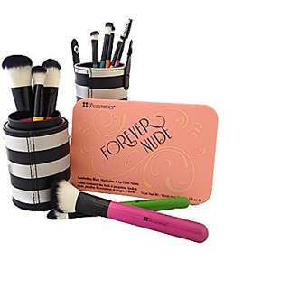BH Cosmetics Forever Nude Palette and Pop Art Brush Set 12-Piece Bundle