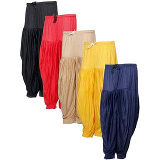 Indistar Women's Premium Cotton 5 Full Patiala Salwar (Pack of 5)