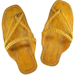 Light yellow attractive braided kolhapuri chappal for men