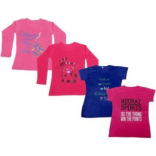 Indistar Girls 2 Cotton Full Sleeves and 2 Half Sleeves Printed T-Shirt (Pack of 4)_Pink::Red::Blue::Pink_Size: 6-7 Year