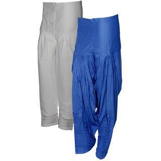 Indistar Women's Premium Cotton 1  Chaudi Lace Semi-Patiala Salwar 1  Dabang Jalidar Full Patiala Salwar (Pack of 2 Salwar)