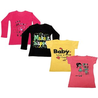 Indistar Girls 2 Cotton Full Sleeves and 2 Half Sleeves Printed T-Shirt (Pack of 4)_Red::Black::Yellow::Pink_Size: 6-7 Year