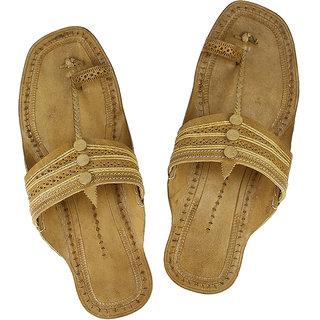 Tan color handcrafted typical kolhapuri chappal for men
