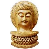 Wooden Jali Base Designer Buddha Head Statue