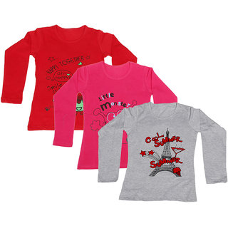 Indistar Girls Cotton 3 Full Sleeves Printed T-Shirt (Pack of 2)_Red::Red::Grey_Size: 8-9 Year