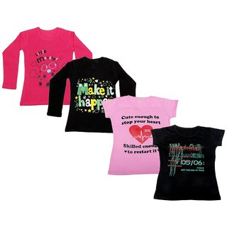 Indistar Girls 2 Cotton Full Sleeves and 2 Half Sleeves Printed T-Shirt (Pack of 4)_Red::Black::Pink::Black_Size: 6-7 Year