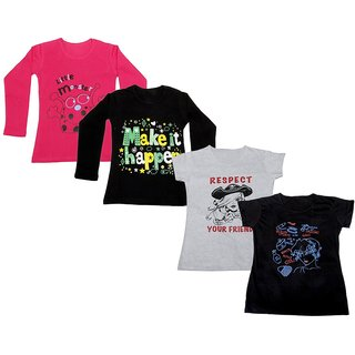 Indistar Girls 2 Cotton Full Sleeves and 2 Half Sleeves Printed T-Shirt (Pack of 4)_Red::Black::White::Black_Size: 6-7 Year