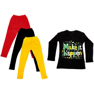 IndiWeaves Girls Cotton Full Sleeves Printed T-Shirt and Cotton Legging (Pack of 4)_Red::Black::Yellow::Black_Size: 6-7 Year
