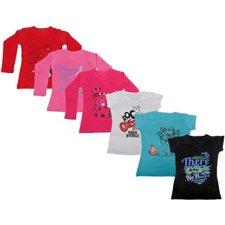 IndiWeaves Girls 3 Cotton Full Sleeves and 3 Half Sleeves Printed T-Shirt (Pack of 6)_Red::Red::Pink::White::Blue::Black_Size: 6-7 Year