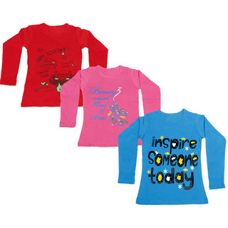 IndiWeaves Girls Cotton Full Sleeve Printed T-Shirt (Pack of 3)_Red::Blue::Pink_Size: 6-7 Year