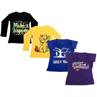 Indistar Girls 2 Cotton Full Sleeves and 2 Half Sleeves Printed T-Shirt (Pack of 4)_Black::Yellow::Blue::Purple_Size: 6-7 Year