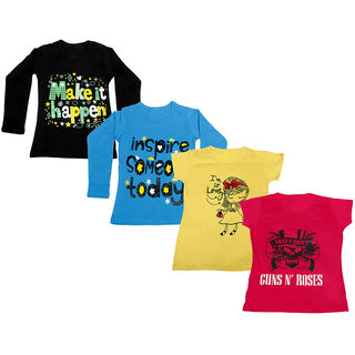 Indistar Girls 2 Cotton Full Sleeves and 2 Half Sleeves Printed T-Shirt (Pack of 4)_Black::Blue::Yellow::Red_Size: 6-7 Year