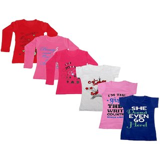 IndiWeaves Girls 3 Cotton Full Sleeves and 3 Half Sleeves Printed T-Shirt (Pack of 6)_Red::Red::Pink::Grey::Pink::Blue_Size: 6-7 Year