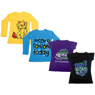 Indistar Girls 2 Cotton Full Sleeves and 2 Half Sleeves Printed T-Shirt (Pack of 4)_Yellow::Blue::Purple::Black_Size: 6-7 Year