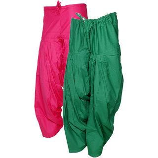 Indistar Women's Premium Cotton 2  Full Patiala Salwar (Pack of 2 Salwar)