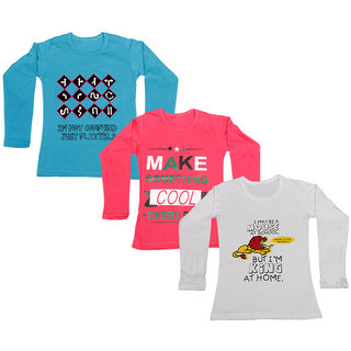 IndiWeaves Girls Cotton Full Sleeve Printed T-Shirt (Pack of 3)_Blue::white::Red_Size: 6-7 Year