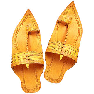 Royal look extra pointed light yellow kolhapuri chappal