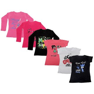 IndiWeaves Girls Cotton Full Sleeves Printed T-Shirt (Pack of 4)_Pink::Black::Red::Pink::White::Black_Size: 6-7 Year