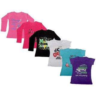 IndiWeaves Girls Cotton Full Sleeves Printed T-Shirt (Pack of 4)_Pink::Black::Red::White::Blue::Purple_Size: 6-7 Year