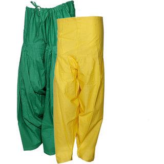 Indistar Women's Premium Cotton 1  Full Patiala Salwar  1  Semi-Patiala Salwar (Pack of 2 Salwar)
