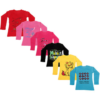 IndiWeaves Girls Cotton Full Sleeve Printed T-Shirt (Pack of 6)_Red::Blue::Yellow::Black::Red::Pink_Size: 6-7 Year