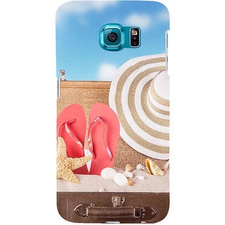 ifasho hat and chappal at a boat in Beach  Back Case Cover for Samsung Galaxy S6 Edge Plus